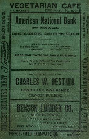 Cover of: San Diego City and County Directory - 1909 by